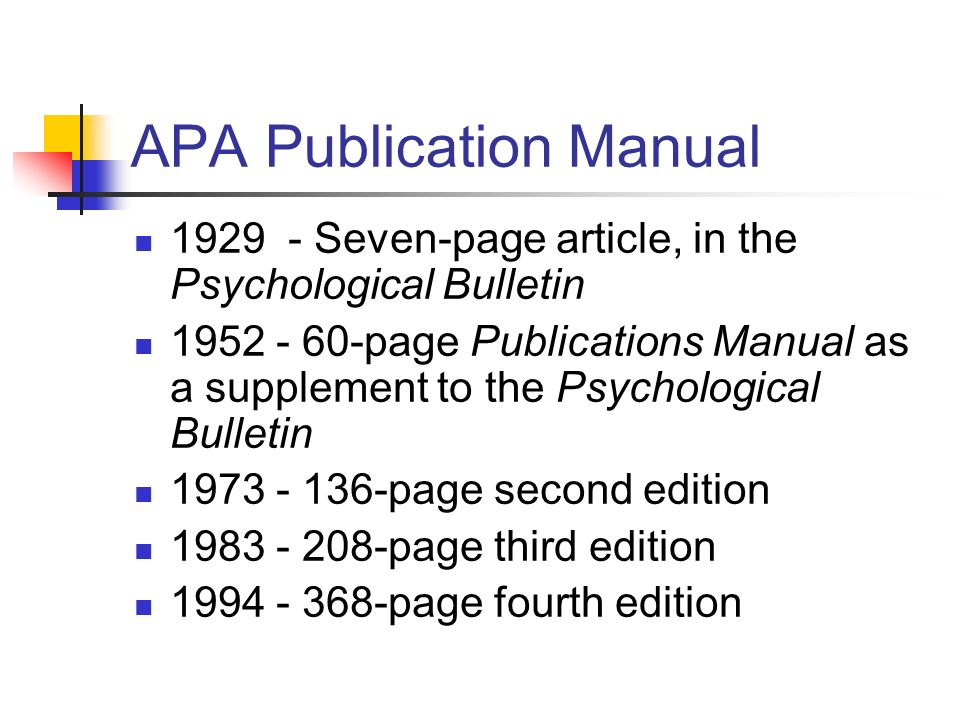 APA Publication Manual Seven-page article, in the Psychological Bulletin page Publications Manual as a supplement to the Psychological Bulletin page second edition page third edition page fourth edition