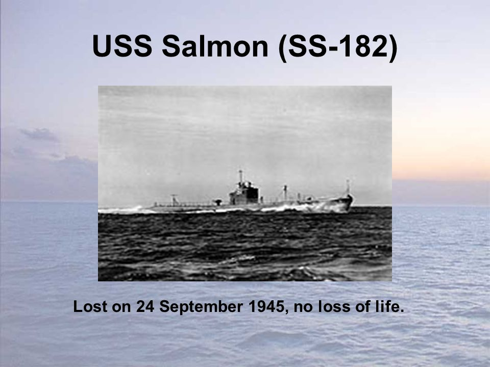USS Salmon (SS-182) Lost on 24 September 1945, no loss of life.