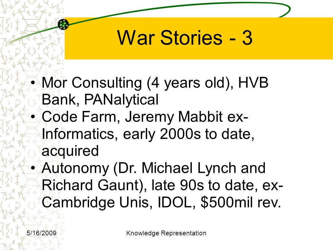 War Stories - 3 Mor Consulting (4 years old), HVB Bank, PANalytical Code Farm, Jeremy Mabbit ex- Informatics, early 2000s to date, acquired Autonomy (Dr.