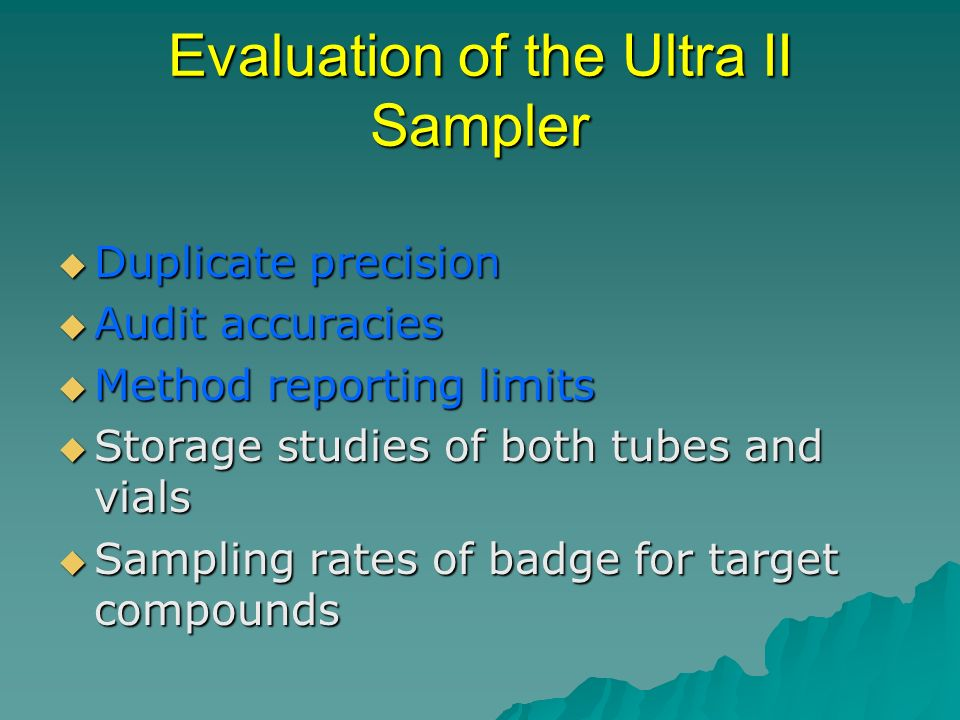 Evaluation of the Ultra II Sampler Duplicate precision Duplicate precision Audit accuracies Audit accuracies Method reporting limits Method reporting limits Storage studies of both tubes and vials Storage studies of both tubes and vials Sampling rates of badge for target compounds Sampling rates of badge for target compounds
