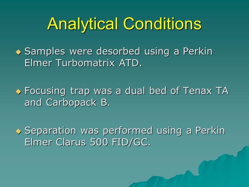 Analytical Conditions Samples were desorbed using a Perkin Elmer Turbomatrix ATD.