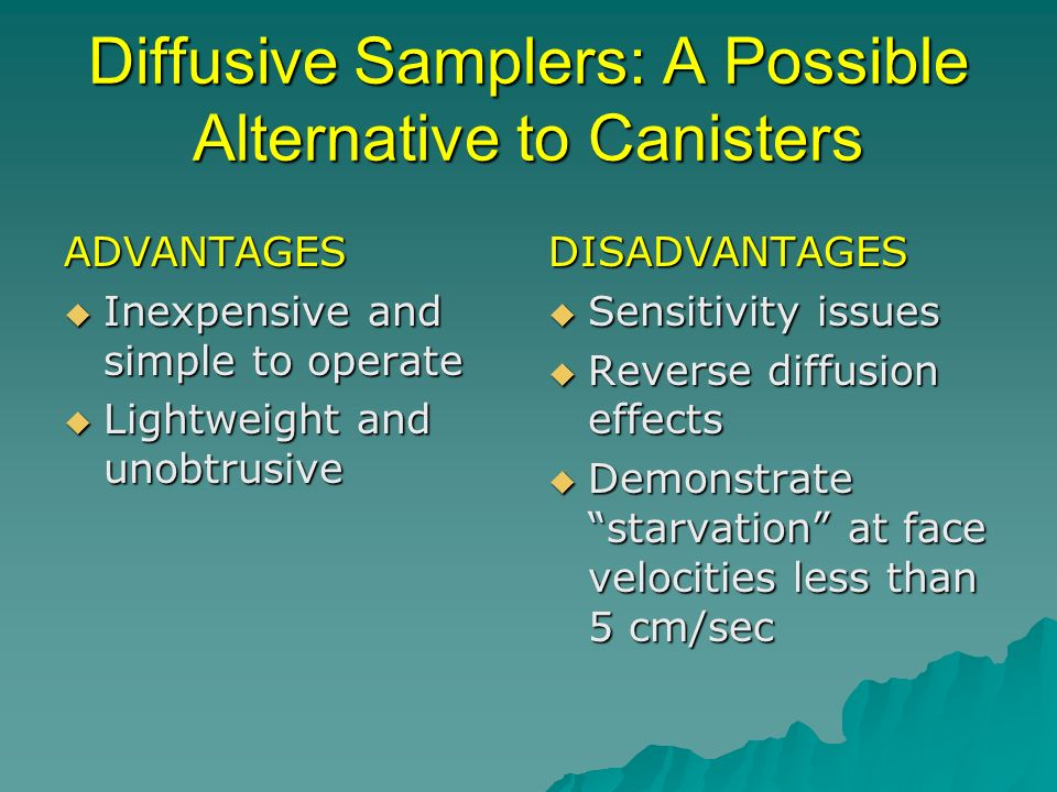 Diffusive Samplers: A Possible Alternative to Canisters ADVANTAGES Inexpensive and simple to operate Inexpensive and simple to operate Lightweight and unobtrusive Lightweight and unobtrusiveDISADVANTAGES Sensitivity issues Sensitivity issues Reverse diffusion effects Reverse diffusion effects Demonstrate starvation at face velocities less than 5 cm/sec Demonstrate starvation at face velocities less than 5 cm/sec