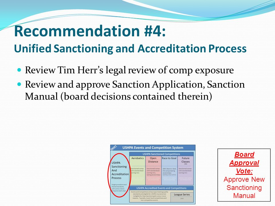 Recommendation #4: Unified Sanctioning and Accreditation Process Review Tim Herrs legal review of comp exposure Review and approve Sanction Application, Sanction Manual (board decisions contained therein) Board Approval Vote: Approve New Sanctioning Manual