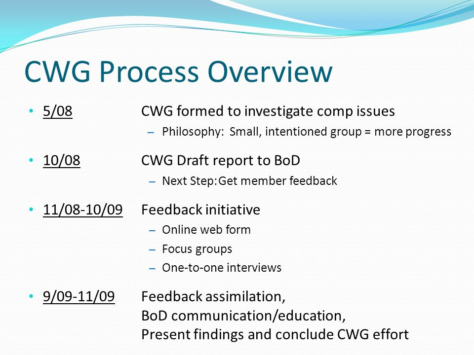CWG Process Overview 5/08CWG formed to investigate comp issues – Philosophy: Small, intentioned group = more progress 10/08CWG Draft report to BoD – Next Step:Get member feedback 11/08-10/09Feedback initiative – Online web form – Focus groups – One-to-one interviews 9/09-11/09Feedback assimilation, BoD communication/education, Present findings and conclude CWG effort