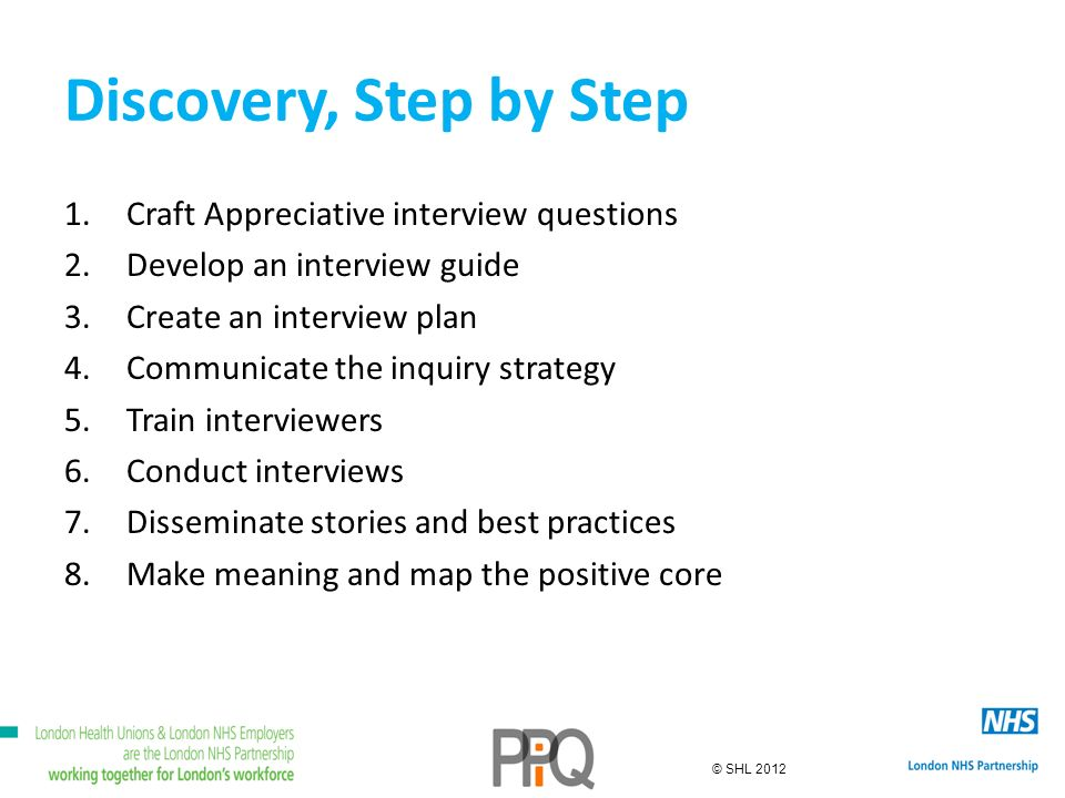 © SHL 2012 Discovery, Step by Step 1.Craft Appreciative interview questions 2.Develop an interview guide 3.Create an interview plan 4.Communicate the inquiry strategy 5.Train interviewers 6.Conduct interviews 7.Disseminate stories and best practices 8.Make meaning and map the positive core