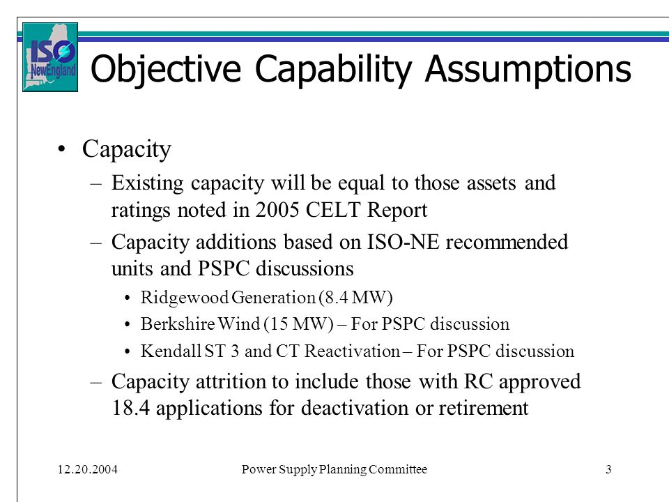 Power Supply Planning Committee3 Objective Capability Assumptions Capacity –Existing capacity will be equal to those assets and ratings noted in 2005 CELT Report –Capacity additions based on ISO-NE recommended units and PSPC discussions Ridgewood Generation (8.4 MW) Berkshire Wind (15 MW) – For PSPC discussion Kendall ST 3 and CT Reactivation – For PSPC discussion –Capacity attrition to include those with RC approved 18.4 applications for deactivation or retirement