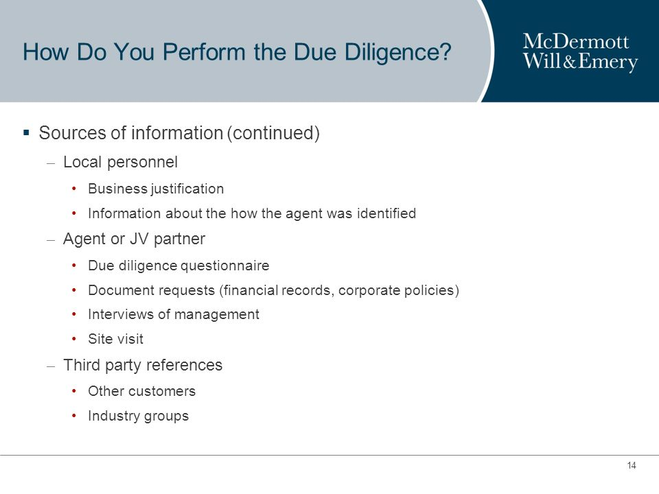 13 How Do You Perform the Due Diligence.
