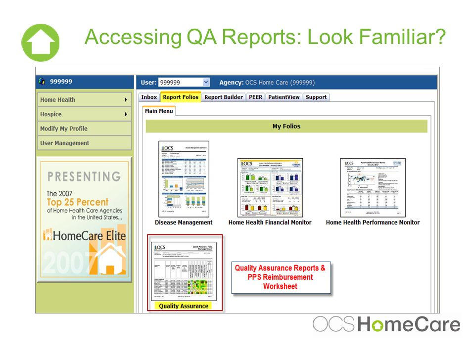 Accessing QA Reports: Look Familiar