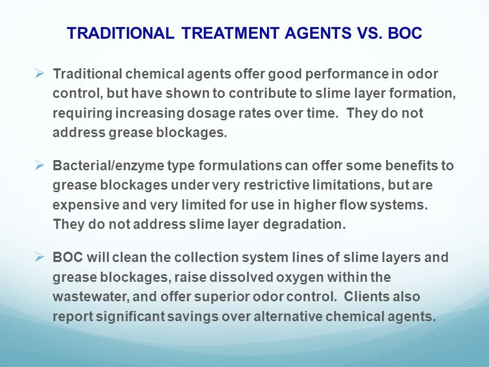 TRADITIONAL TREATMENT AGENTS VS.