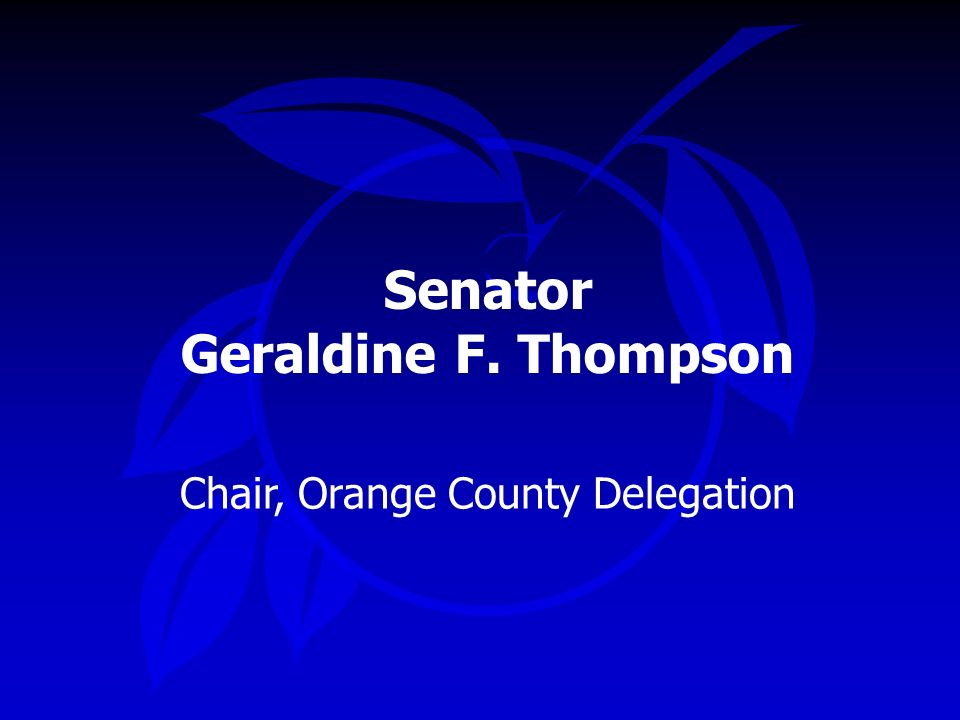 Senator Geraldine F. Thompson Chair, Orange County Delegation