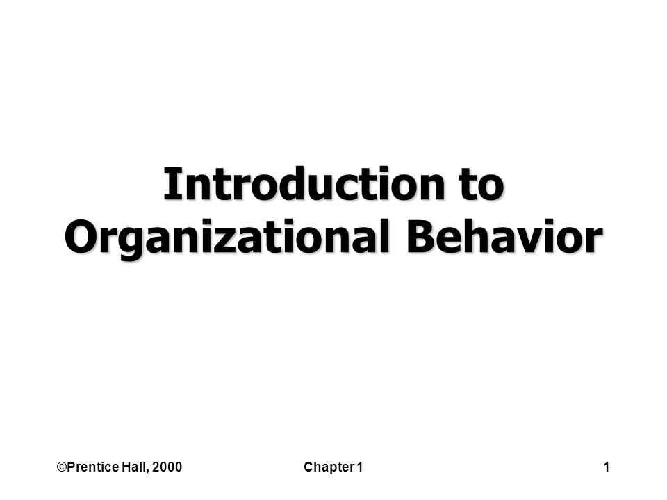 ©Prentice Hall, 2000Chapter 11 Introduction to Organizational Behavior