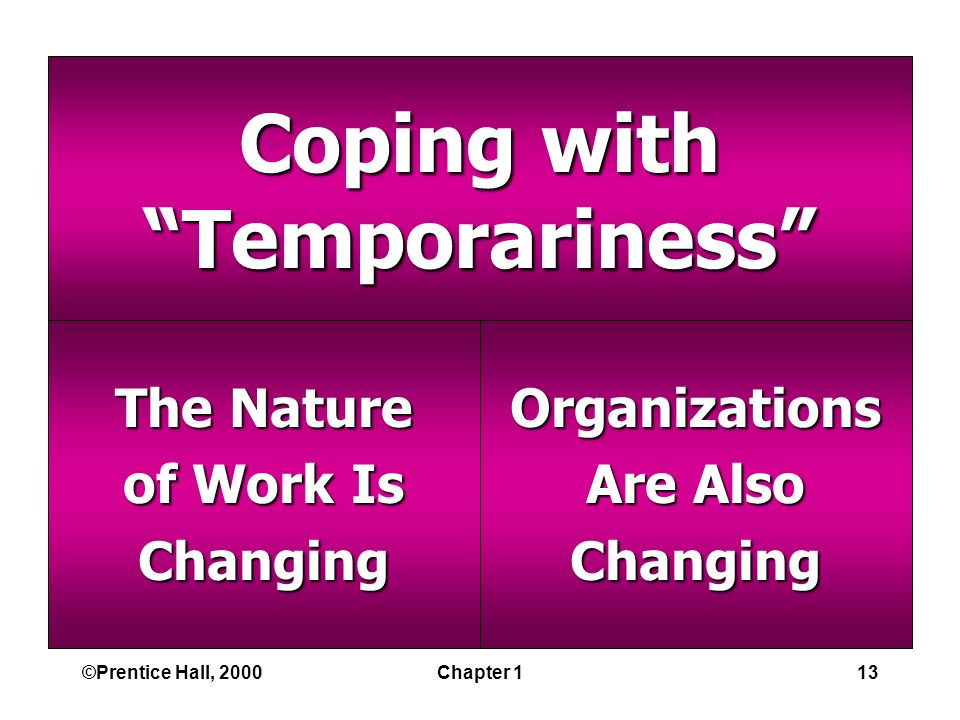 ©Prentice Hall, 2000Chapter 113 Coping with Temporariness The Nature of Work Is ChangingOrganizations Are Also Changing