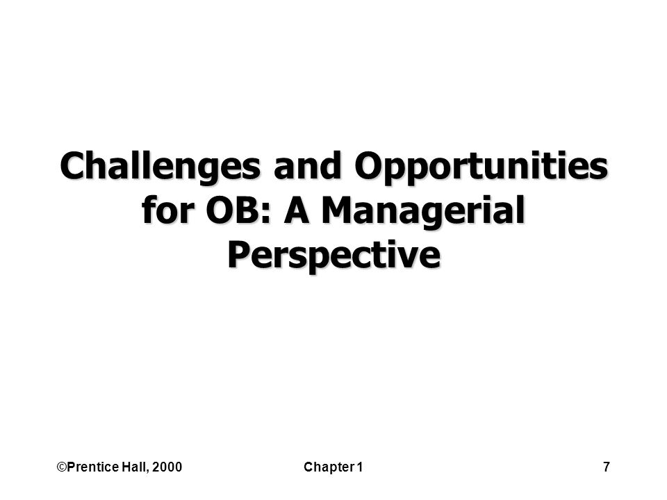 ©Prentice Hall, 2000Chapter 17 Challenges and Opportunities for OB: A Managerial Perspective