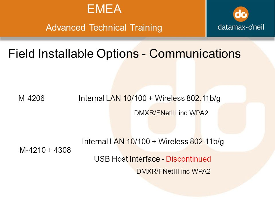 Title EMEA Advanced Technical Training Field Installable Options - Communications M-4206Internal LAN 10/100 + Wireless b/g M Internal LAN 10/100 + Wireless b/g USB Host Interface - Discontinued DMXR/FNetIII inc WPA2
