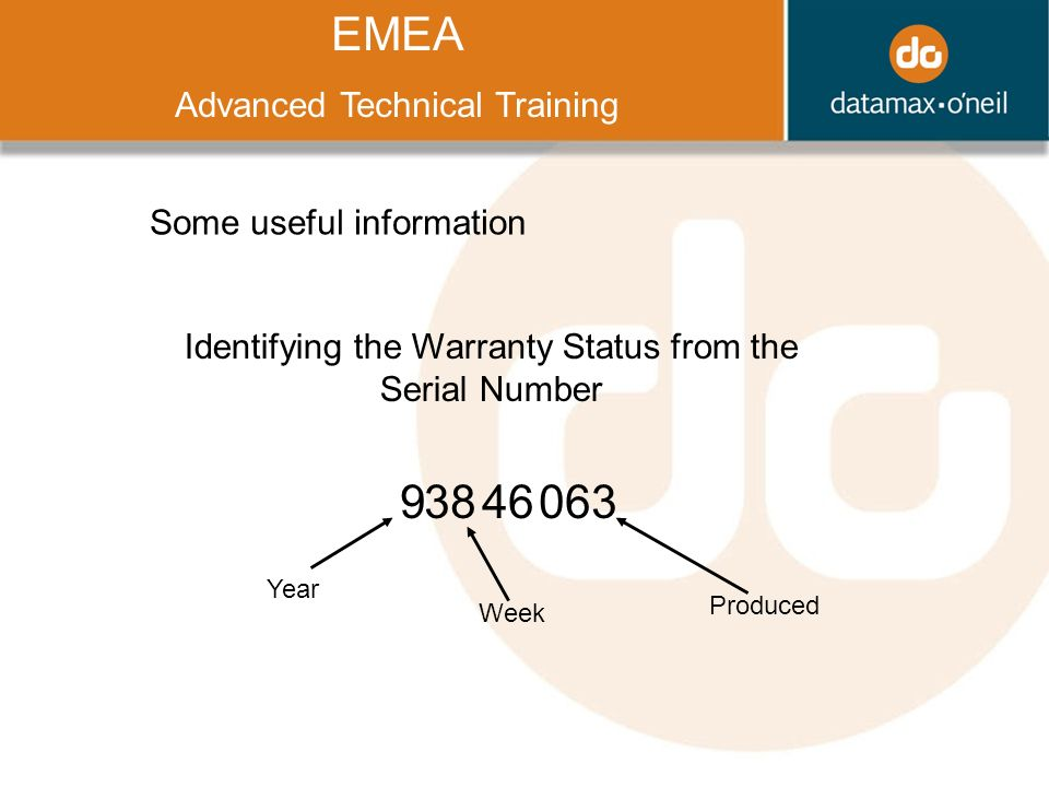 Title EMEA Advanced Technical Training Some useful information Identifying the Warranty Status from the Serial Number Year Week Produced