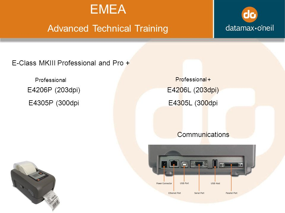 Title EMEA Advanced Technical Training E-Class MKIII Professional and Pro + Communications E4206P (203dpi) E4305P (300dpi E4206L (203dpi) E4305L (300dpi Professional Professional +