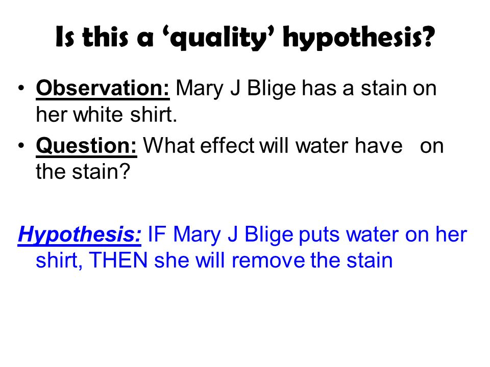 Is this a quality hypothesis. Observation: Mary J Blige has a stain on her white shirt.