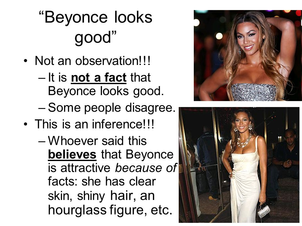 Beyonce looks good Not an observation!!. –It is not a fact that Beyonce looks good.