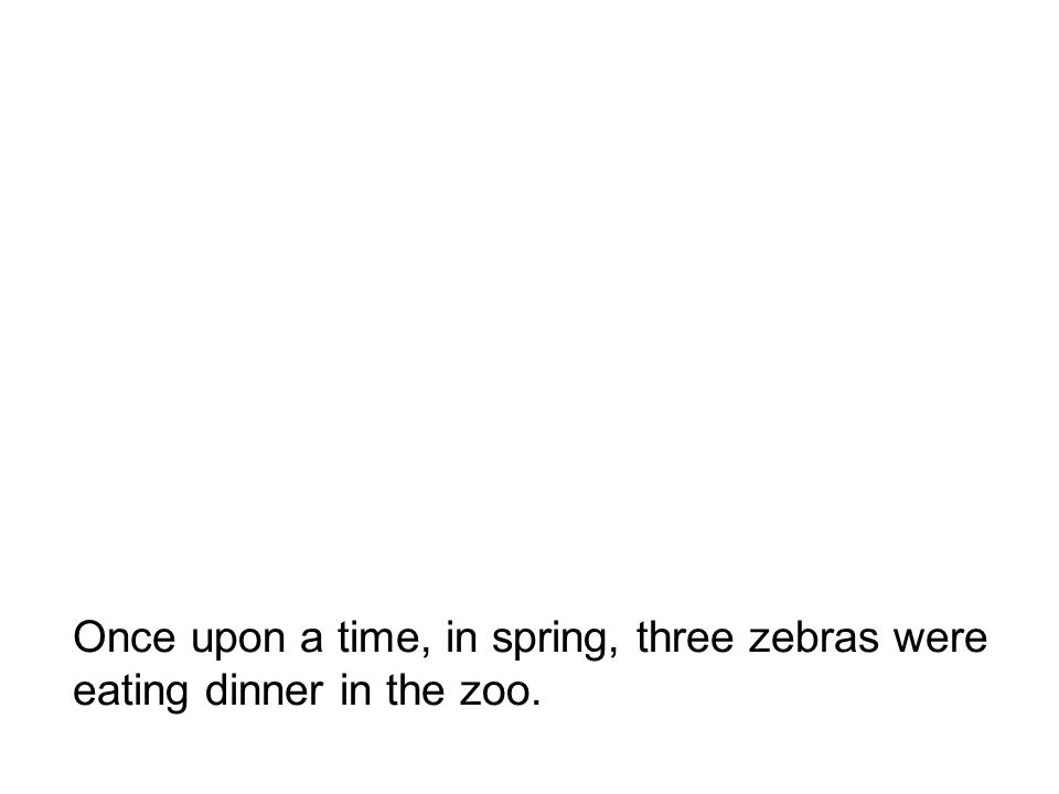 Once upon a time, in spring, three zebras were eating dinner in the zoo.