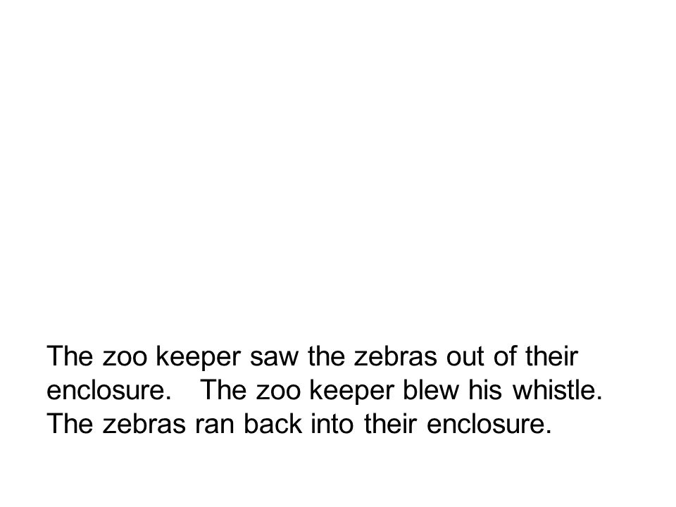 The zoo keeper saw the zebras out of their enclosure.