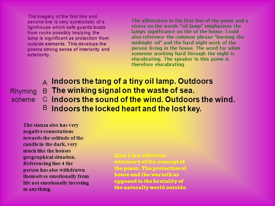 Indoors the tang of a tiny oil lamp. Outdoors The winking signal on the waste of sea.