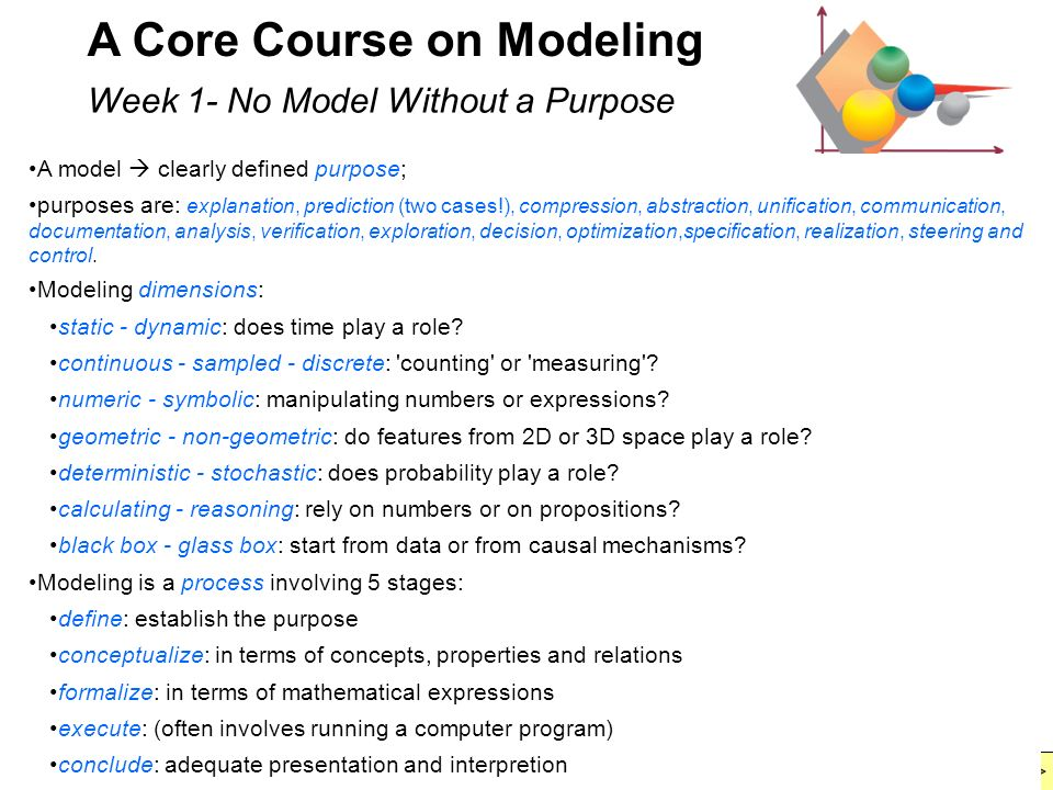2 A Core Course on Modeling after the party… Summary Week 1- No Model Without a Purpose A model clearly defined purpose; purposes are: explanation, prediction (two cases!), compression, abstraction, unification, communication, documentation, analysis, verification, exploration, decision, optimization,specification, realization, steering and control.