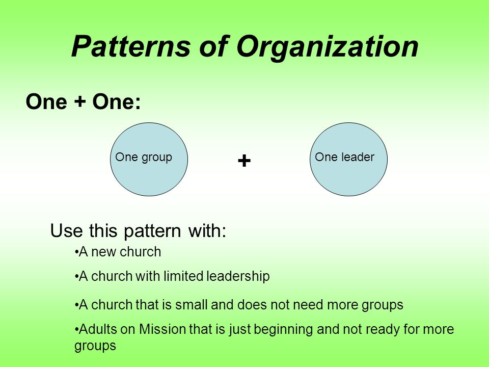 Patterns of Organization One + One: + One groupOne leader Use this pattern with: A new church A church with limited leadership A church that is small and does not need more groups Adults on Mission that is just beginning and not ready for more groups