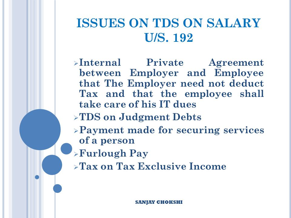 ISSUES ON TDS ON SALARY U/S.