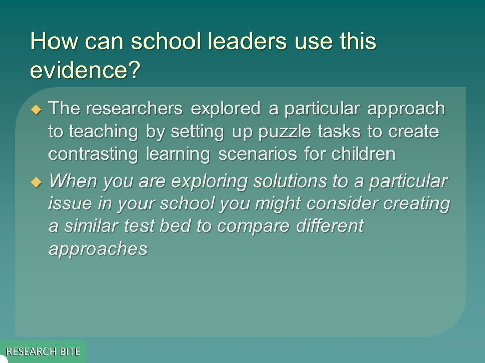 How can school leaders use this evidence.