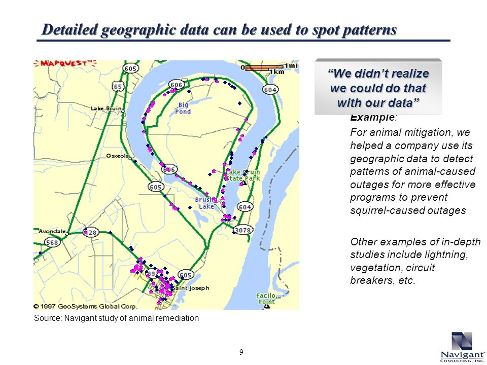 9 Detailed geographic data can be used to spot patterns Example: For animal mitigation, we helped a company use its geographic data to detect patterns of animal-caused outages for more effective programs to prevent squirrel-caused outages Other examples of in-depth studies include lightning, vegetation, circuit breakers, etc.