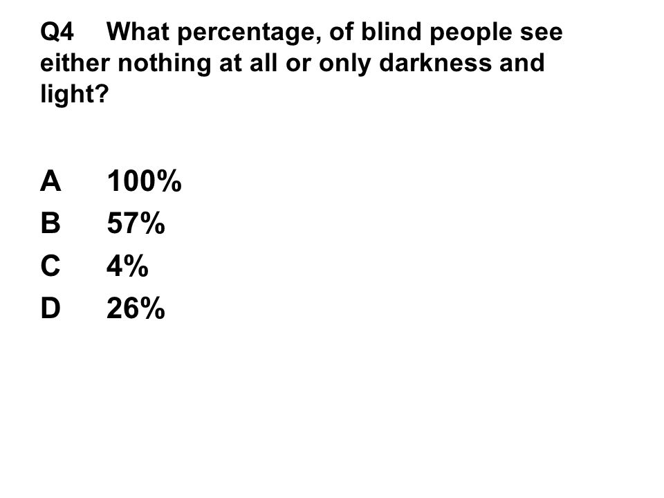 Q4 What percentage, of blind people see either nothing at all or only darkness and light.