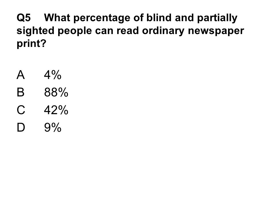 Q5 What percentage of blind and partially sighted people can read ordinary newspaper print.