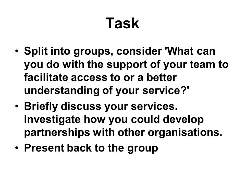 Task Split into groups, consider What can you do with the support of your team to facilitate access to or a better understanding of your service Briefly discuss your services.
