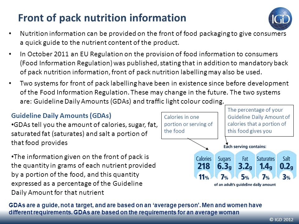 © IGD 2012 Front of pack nutrition information Nutrition information can be provided on the front of food packaging to give consumers a quick guide to the nutrient content of the product.
