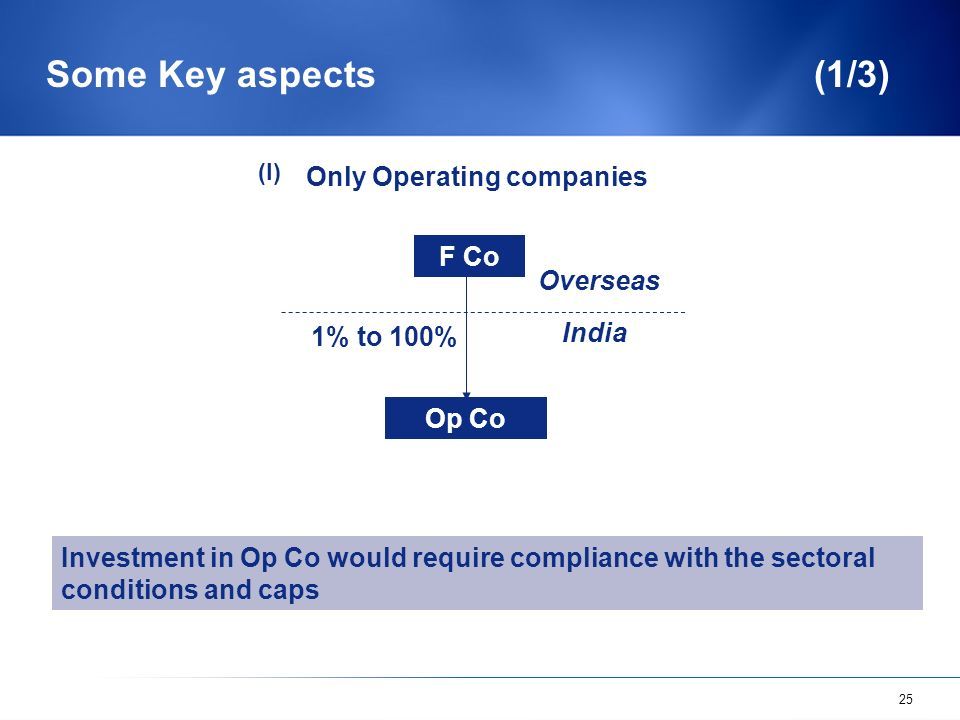 25 Some Key aspects (1/3) F Co Op Co Overseas India Only Operating companies Investment in Op Co would require compliance with the sectoral conditions and caps 1% to 100% (I)