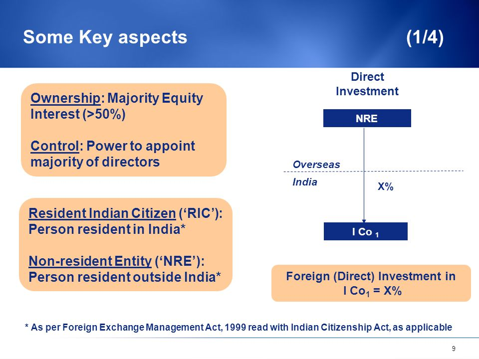 9 Some Key aspects (1/4) Ownership: Majority Equity Interest (>50%) Control: Power to appoint majority of directors Resident Indian Citizen (RIC): Person resident in India* Non-resident Entity (NRE): Person resident outside India* * As per Foreign Exchange Management Act, 1999 read with Indian Citizenship Act, as applicable NRE I Co 1 X% Overseas India Foreign (Direct) Investment in I Co 1 = X% Direct Investment