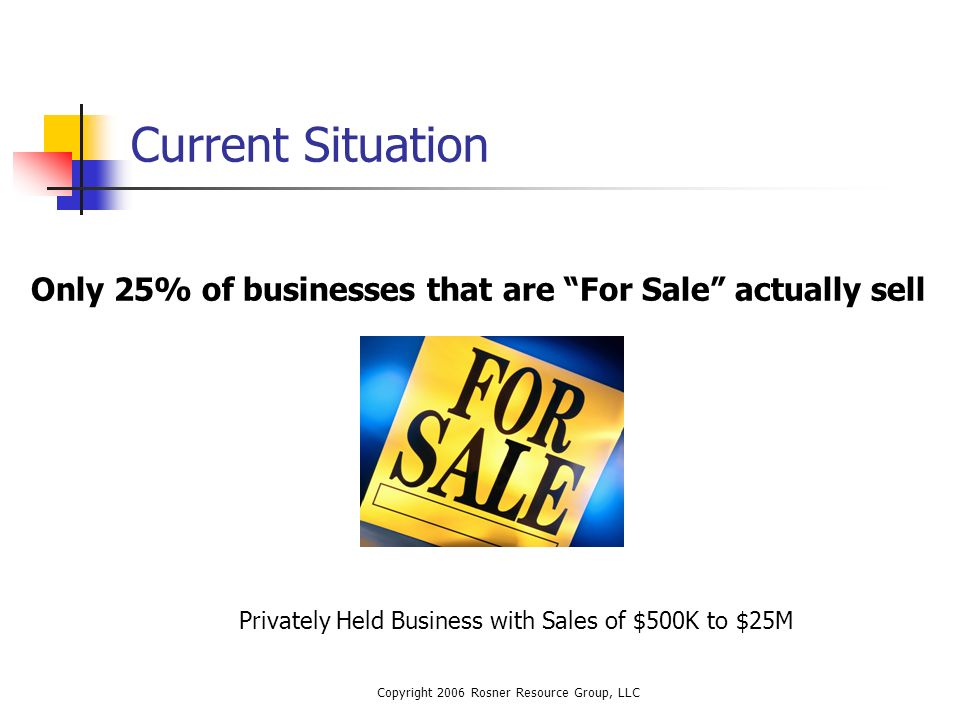 Copyright 2006 Rosner Resource Group, LLC Current Situation Only 25% of businesses that are For Sale actually sell Privately Held Business with Sales of $500K to $25M