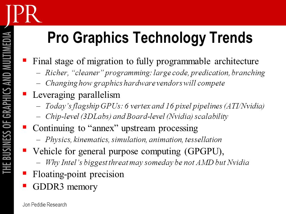 Jon Peddie Research Pro Graphics Technology Trends Final stage of migration to fully programmable architecture –Richer, cleaner programming: large code, predication, branching –Changing how graphics hardware vendors will compete Leveraging parallelism –Todays flagship GPUs: 6 vertex and 16 pixel pipelines (ATI/Nvidia) –Chip-level (3DLabs) and Board-level (Nvidia) scalability Continuing to annex upstream processing –Physics, kinematics, simulation, animation, tessellation Vehicle for general purpose computing (GPGPU), –Why Intels biggest threat may someday be not AMD but Nvidia Floating-point precision GDDR3 memory
