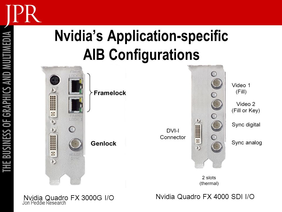Jon Peddie Research Nvidias Application-specific AIB Configurations Nvidia Quadro FX 3000G I/O Nvidia Quadro FX 4000 SDI I/O
