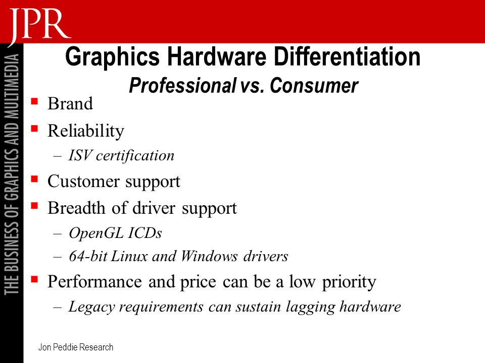 Jon Peddie Research Graphics Hardware Differentiation Professional vs.