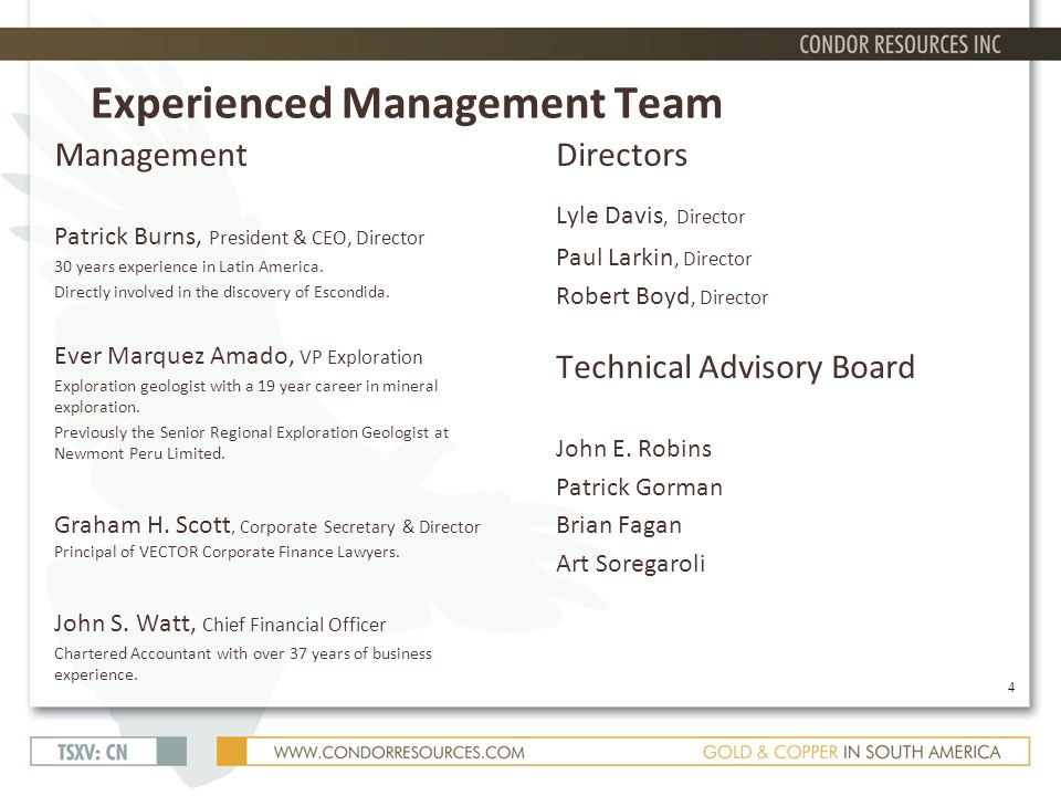 Experienced Management Team Management Patrick Burns, President & CEO, Director 30 years experience in Latin America.