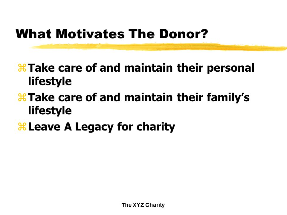 The XYZ Charity What Motivates The Donor.