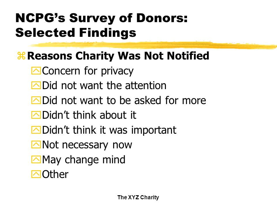 The XYZ Charity NCPGs Survey of Donors: Selected Findings zReasons Charity Was Not Notified yConcern for privacy yDid not want the attention yDid not want to be asked for more yDidnt think about it yDidnt think it was important yNot necessary now yMay change mind yOther