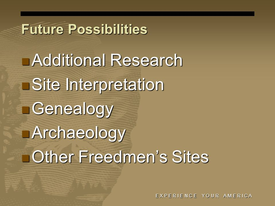 Future Possibilities Additional Research Additional Research Site Interpretation Site Interpretation Genealogy Genealogy Archaeology Archaeology Other Freedmens Sites Other Freedmens Sites E X P E R I E N C E Y O U R A M E R I C A