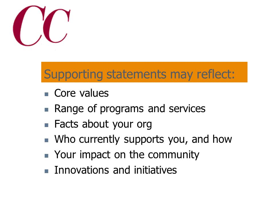 Supporting statements: Support your brand Provide additional information about your organization Can be targeted to different audiences