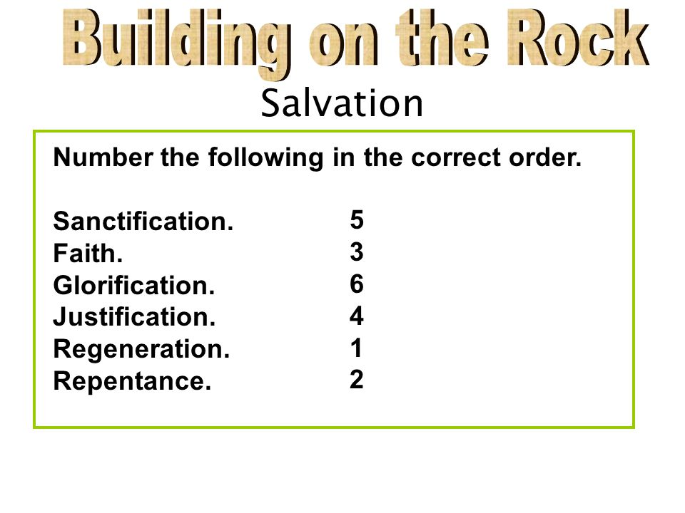Salvation Number the following in the correct order.