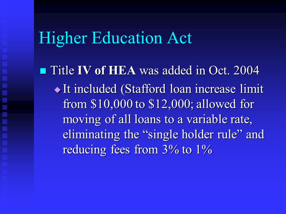 Higher Education Act Title IV of HEA was added in Oct.