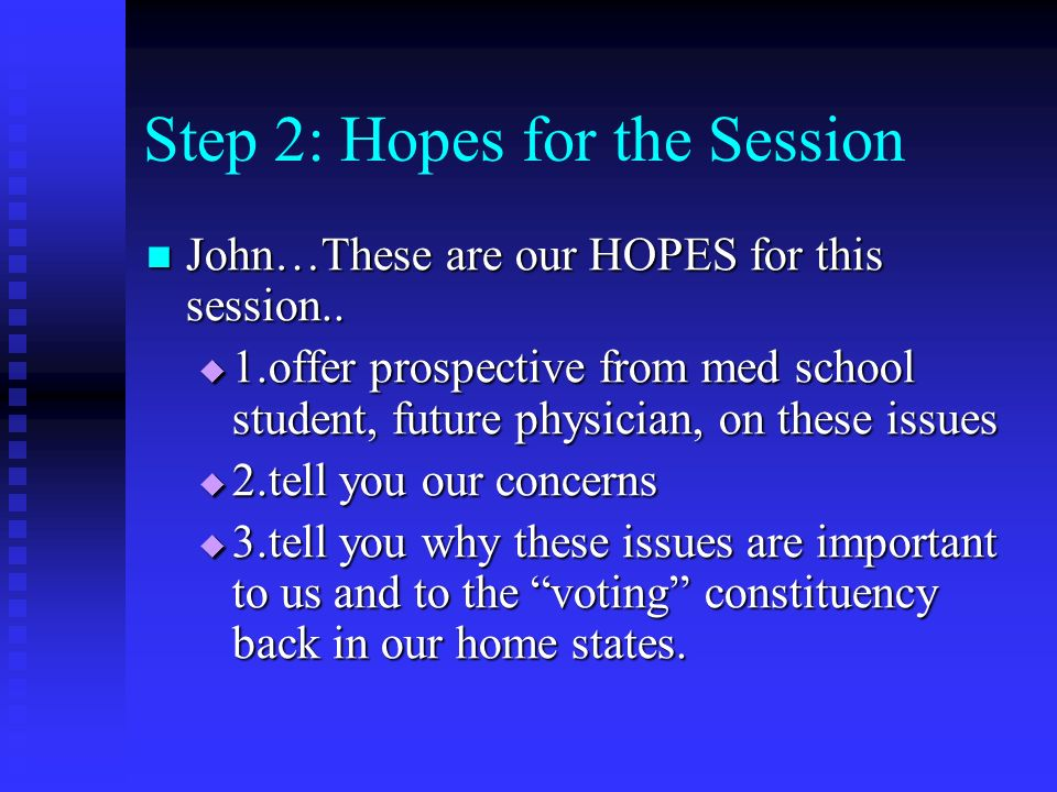 Step 2: Hopes for the Session John…These are our HOPES for this session..