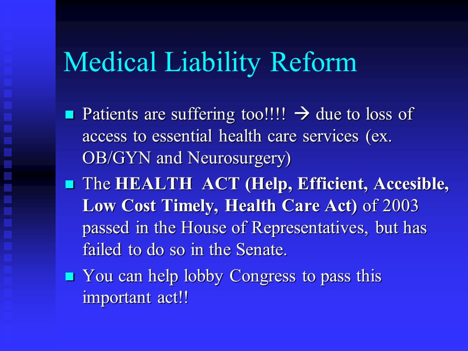 Medical Liability Reform Patients are suffering too!!!.