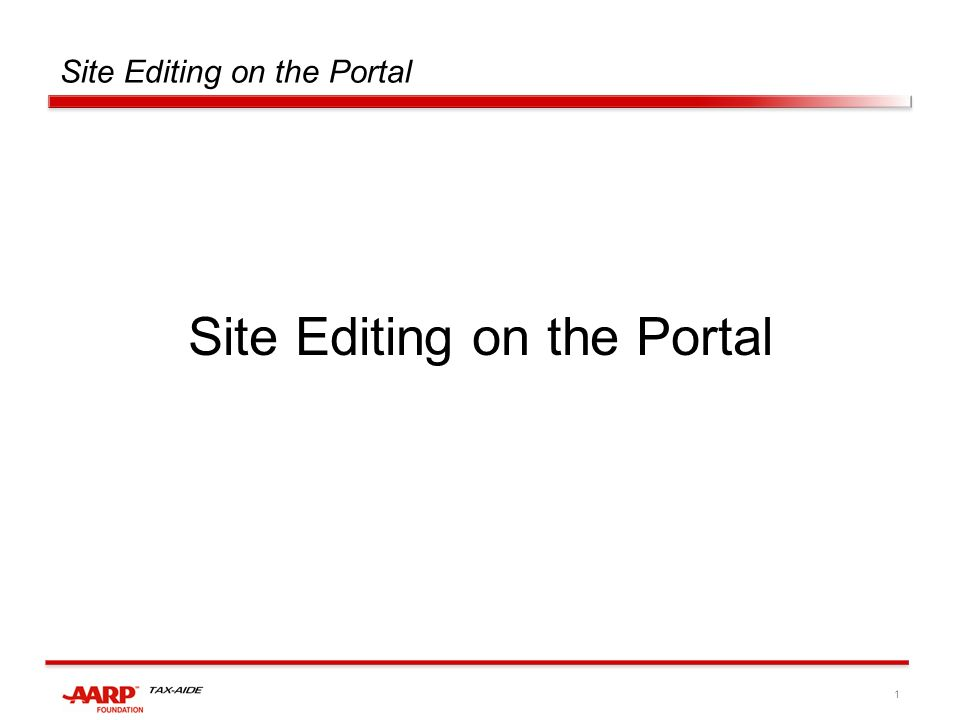 1 Site Editing on the Portal